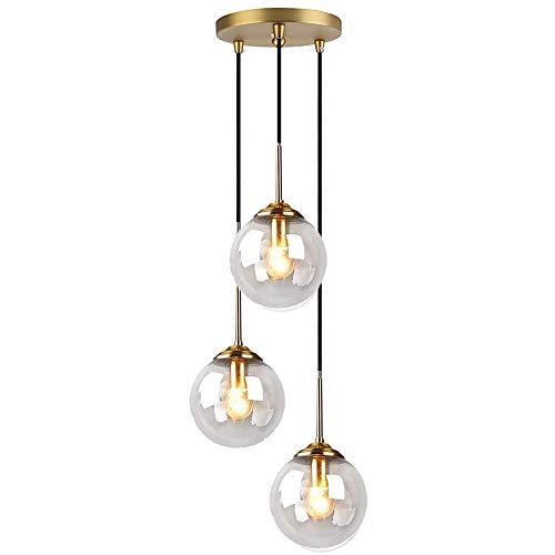 LFsem Industriel Rétro 3 Luminaire Suspensions Boule De Verre Lampe Suspension Raccords En Laiton Suspension E27 Loft Suspension pour Salon Salle À Manger Chambre (3 lumières, Clair)