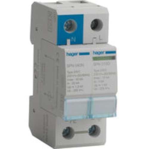 Hager SPN215D Überspannungsschutz, 1-polig + neutral, 15 ka, 275 V, 60 Hz