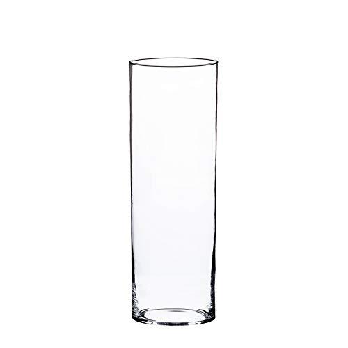 INNA-Glas Vase en Verre cylindrique Sansa, Transparent, 50cm, Ø 19cm - Vase Tube - Grand Vase Transparent