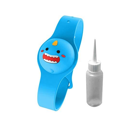 Kinder Cartoon Tragbares Händedesinfektionsmittel Dispensing Armband Handspender Schutzarmband Handwaschflüssigkeit 15ML,24cm Verstellbarer Riemen (Blau)