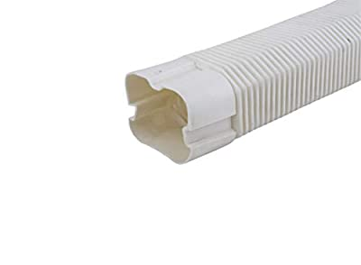 """HVAC Premium ABS Plastic Decorative Line Set Cover Flexible Joint for Ductless Mini Split Air Conditioners - Pipe Cover - 4"""" - Off White"""