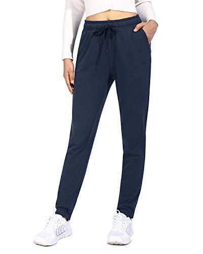 OUGES Damen Jogginghose Yoga Hose Baumwolle Sporthose Lang Freizeithose Trainingshose mit Taschen für Frauen(Blau,M)