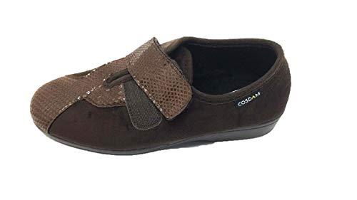 Zapatilla de Calle/Mujer/Cosdam/Material Bamara/Ancho Especial/Marrón/Cuña 3 cm/Cierre...