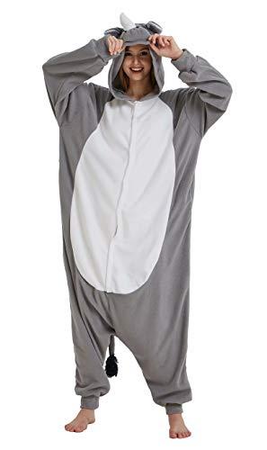 Dorliki Pijama Unisexo Trajes de Dormir Animal Disfraz Cosplay Halloween Navidad Mono con Capucha Rinoceronte S