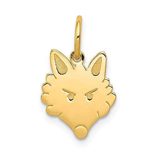 14k Yellow Gold Fox Head Pendant Charm Necklace Animal Wild Man Nature Outdoor Farm L Fine Jewelry For Dad Mens Gifts For Him