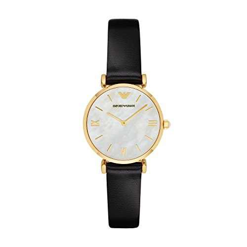 Emporio Armani Damen Analog Quarz Uhr mit Leder Armband AR1910