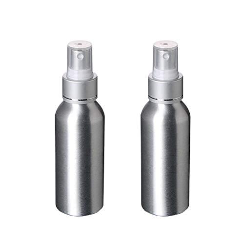 Lurrose Atomiseur rechargeable de parfum de parfum de voyage de bouteille en aluminium de voyage de 2pcs 120ML de récipients