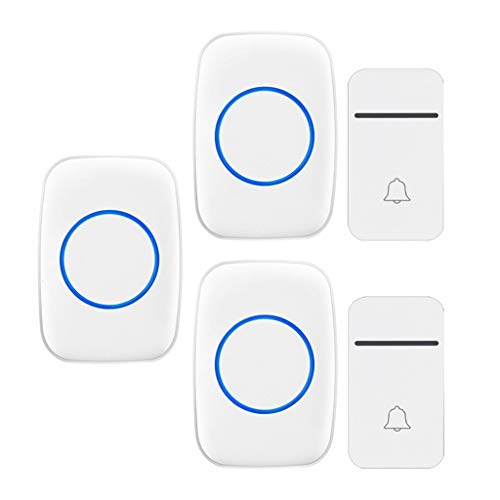 GOODLUKE Self-Powered Wireless Doorbell, Doorbell with 200M Range, 38 Chimes, 3 Adjustable Volume Levels, 2 Doorbell Button 3 Plug in Receivers, Best for Home/Hospital/Office,White