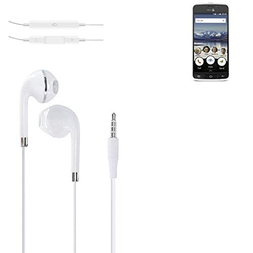 K-S-Trade Kopfhörer Für Doro 8040 Mit Mikrofon U Lautstärkeregler Weiß 3,5mm Klinke Headphones Ohrstöpsel Ohrstecker Stereo Headset Universell Verwendbar