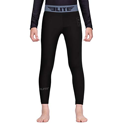 Elite Sports Kids MMA BJJ Athletic Spats Leggings Tights, Kids Jiu Jitsu Compression Base Layer Training Workout Pants (Black, X-Large)