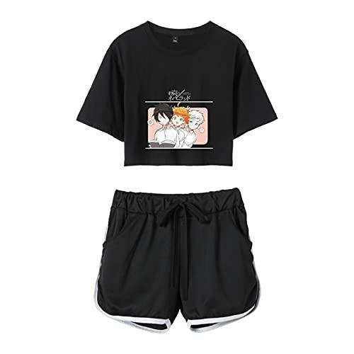 WWZY Conjuntos Deportivos para Mujer Anime The Promised Neverland Impreso Emma,Norman Y Ray Chndales Camiseta Y Pantalones Cortos Cuello Redondo Crop Top T-Shirt Shorts Verano,Negro,L