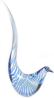 Murano Glass Glass Bird Clear with Blue Spiral