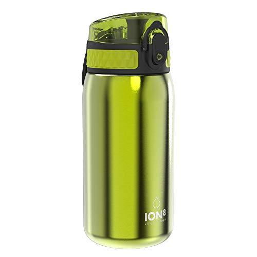 Ion8 Borraccia Acciaio Inox Bambini Senza Perdite, 400 ml, Verde