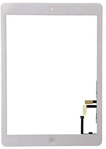 Unknown Touch Screen + Home Button + Camera Holder for Apple iPad Air, A1474, A1475, Adhesive Glass Exterior Digitizer (White)