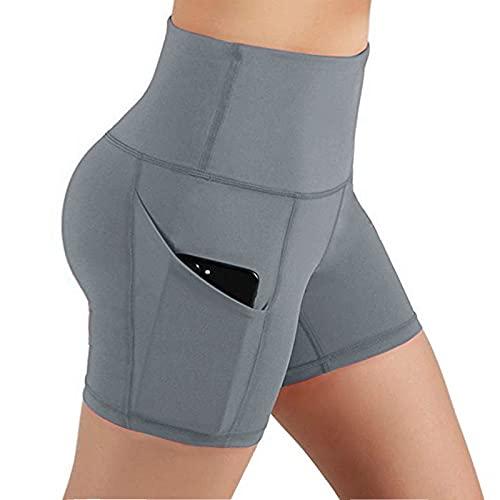 Leggings cortos para mujer, cintura alta, pantalones de yoga, pantalones de deporte, mallas para correr, con bolsillos, elásticos, pantalones de jogging, yoga, deporte, fitness, correr, gris, XL
