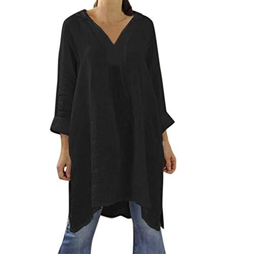 Shinehua shirt met lange mouwen voor dames, losse pasvorm, tuniek, top, casual, V-hals, blousejurk, tuniekblouses, zomer, herfst, lange mouwen, T-shirt, bovenstuk, longshirt, blouses Large zwart