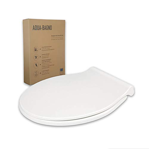 """Asiento/tapa de inodoro """"Zero"""" de Aqua Bagno, blanco, forma en D, universal, plástico termoestable (duroplast) de alta calidad con mecanismo de cierre suave, extraíble"""