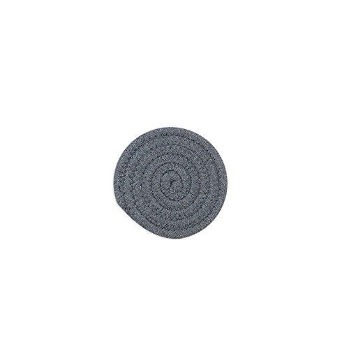 Lot de 2 fabriqué à la main en coton tissé spirale Maniques Sets de table Tapis de tasse Dessous de Plat, 11 cm/11 cm, gris foncé, gris, Round 11cm
