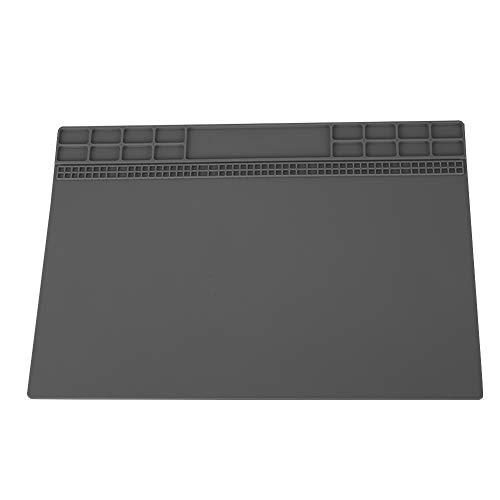 Zerone Almohadilla de Silicona antiestática de la Almohadilla de Soldadura Grande 350 mm × 250 mm Almohadilla de estación de Trabajo con Aislamiento térmico de 500 para BGA(Gris)