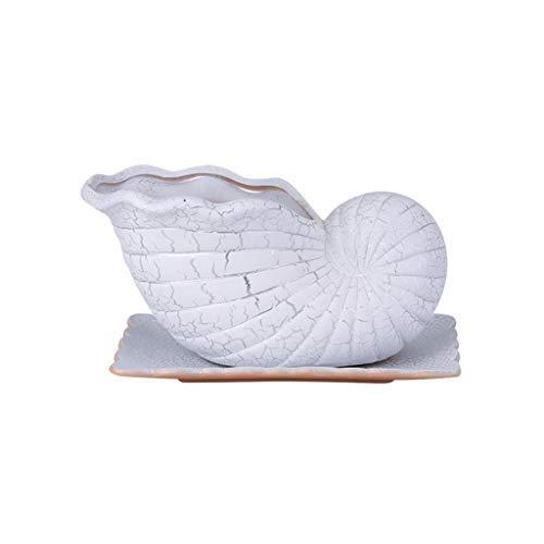 Maceteros Exterior Maceta blanca con bandeja de jardín al aire libre Hogar sala de estar Oficina Decoración de la decoración de la flor de cerámica 11.22 pulgadas de largo Maceteros Decorativos Interi