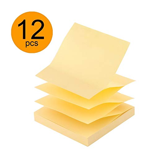 D.RECT Haftnotizen Zig-Zag Z-Notes 75x75mm 100 Blatt 12 Stück Gelb