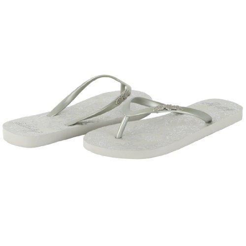 ED HARDY Women's Capistrano Flip Flop Sandal - Silver - 7