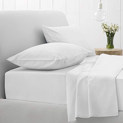 GT Ghazlan_Textiles ® Bettlaken aus 100 % Polyester-Baumwolle, für Einzel-, Doppel-, King-Size- und Super-King-Size-Betten (weiß, Doppelbett)
