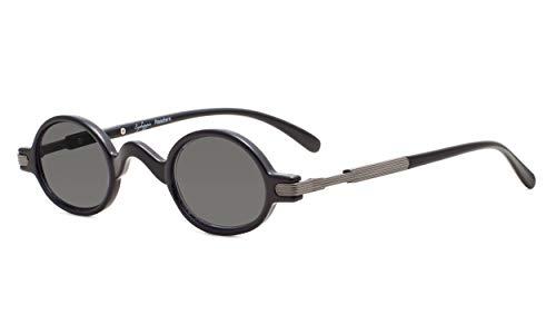 Eyekepper Sonne Leser Federschanier Buegel Klassiker Mini Kleine Oval Rund Lesung Sonnenbrille Linsen Grau +1.0