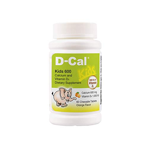 D-Cal® Kids 600 Orange Flavor Calcium and Vitamin D Dietary Supplement for Bone Health and Bone Strength - Chewable Tablets - 60 Days Serving