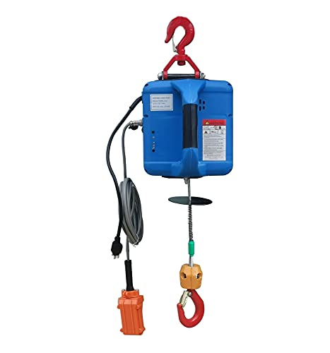 INTSUPERMAI Electric Hoist Crane 992 Lb Capacity 25 Ft Wire Cable Control Portable Household Electric Winch 110V Overhead Lift with Overload Protection