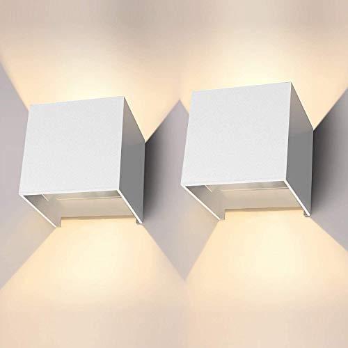 LEDMO LED Wandleuchte Innen/Außen 12W 2 Stücke Wandleuchte Aussen 3000K LED Aussenleuchte Wand Mit Einstellbar Abstrahlwinkel Wandbeleuchtung innen IP65 Wandlampe Aussen. (Weiß)