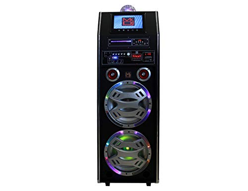 """Mr. Dj Stage 3-Way Dual 12"""" Portable Active Speaker, Max Power 2500 Watts P.M.P.O, Built-in Rechargeable Battery, 9"""" LCD DVD Player Bluetooth Tecnology"""