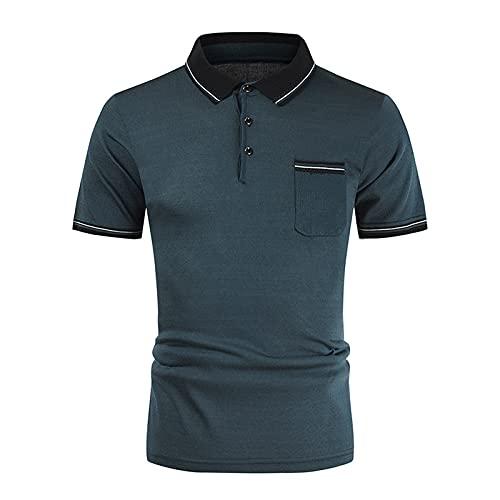 Camisa de patchwork para hombre, manga corta, para verano, ajustada, informal, ajustada, a rayas B verde XXL