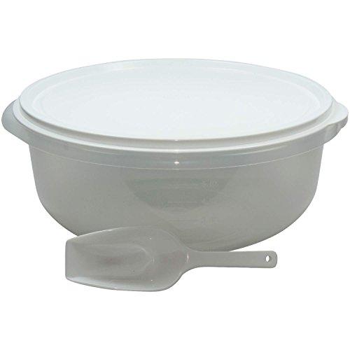 Grosse Hefeteigschüssel 6 Liter mit Plopp-Deckel Rührschüssel Frischhaltedose Salatschüssel, mit Messskala und Mehlschaufel- BPA-frei hergestellt in Deutschland !