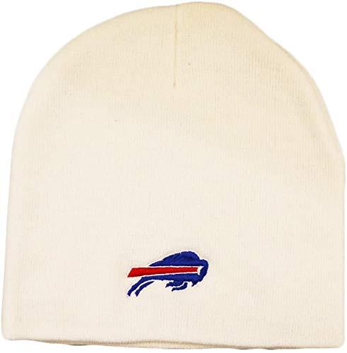 '47 Buffalo Bills White Skull Cap - Cuffless Winter Knit Toque Beanie Hat
