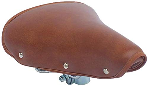 JZDH Asiento de Bicicleta Asiento Asiento Silla de Asiento Aliento cojín Suave Profesional Vintage Resistente Resistente a los Accesorios Bicicleta sillín fácil Instalar marrón PU Cuero Fijo Suave