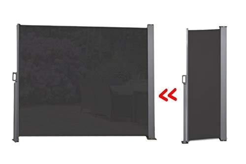 909 OUTDOOR Toile paravent extérieur, Paravent rétractable extérieur, Rideau paravent, Ecran Total 3 mètres Disponible en différentes Couleurs (150x300cm, Noir)