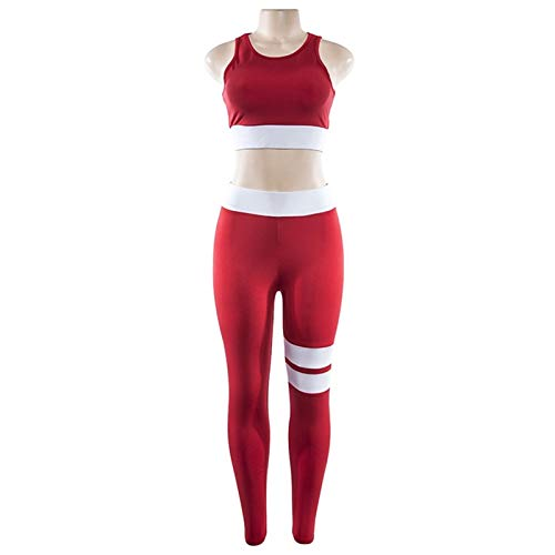 KSFBHC Mujeres Sports Set Sexy Yoga Set Running Fitness Sports Bra + Yoga Sportswear Entrenamiento Ropa (Color : Red, Size : Small)