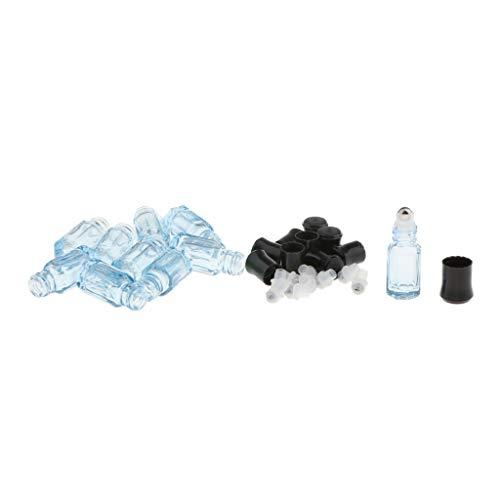 Amuzocity 10pcs Bouteilles en Verre 3ml pour L'Huile Essentielle/Parfum - Bleu ciel