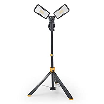 【Upgraded】LUTEC 6290Max 11000 Lumen 92W Dimmable LED Work Light with Telescoping Tripod Adjustable Color Temperature Dual-Head Work Light with Stand and 8 Ft 3-Prong Power Cord