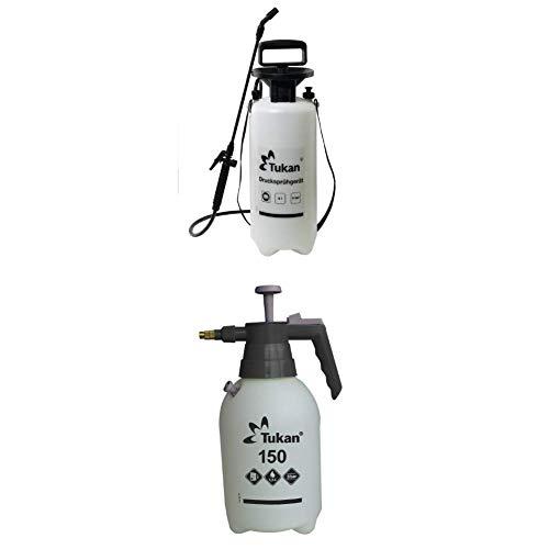 TUKAN Drucksprühgerät 5 Liter mit verstellbarer Düse + Drucksprühgerät 1,5L mit verstellbarer Messingdüse und Druckventil