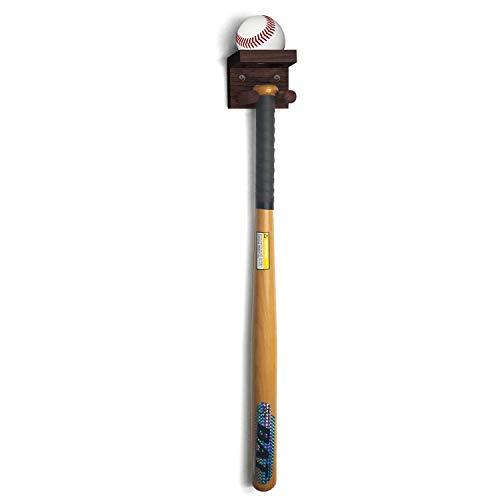 TOBWOLF Soporte de pared vertical para bate de béisbol, soporte de pared de madera maciza para palo de hockey lacrosse, ideal para almacenamiento de objetos coleccionables, color marrón rojizo