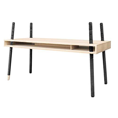 Unbekannt CASPAR Fichte fingergezinkt - in der Höhe Verstellbarer Design-Schreibtisch von PERLUDI - verbesserte Ausführung mit Klemmschrauben Diverse Fuß-Farben