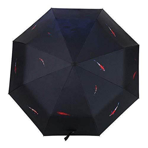 WYZQ Paraguas Abierto Automático Lluvia Y Lluvia Doble Uso Gran Sombrilla Protección contra el Sol Plástico Negro Sombrilla Hombres y Mujeres Brocado Carpa, Equipaje