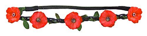 Trachtenland Blumen Haarband mit Blüten und glitzernden Schmucksteinen Rot