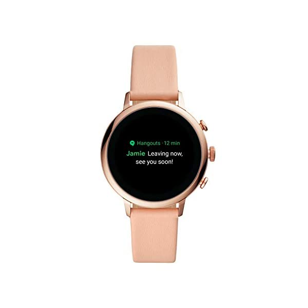 Fossil Women's Gen 4 Venture HR Heart Rate Stainless Steel and Leather Touchscreen Smartwatch, Color: Rose Gold Glitz, Blush (Model: BQD3002), Womens Standard