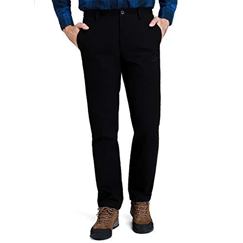 CAMEL CROWN Herren Arbeitshose Slim Fit Washed Latzhose Kleid Hose Twill Flat-Front Chino Hose für Herren - Schwarz - 36W / 33L