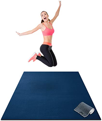 "Premium Large Exercise Mat - 6' x 4' x 1/4"" Ultra Durable, Non-Slip, Workout Mats for Home Gym Flooring - Plyo, Jump, Cardio, MMA Mats - Use With or Without Shoes (72"" Long x 48"" Wide x 6mm Thick)"