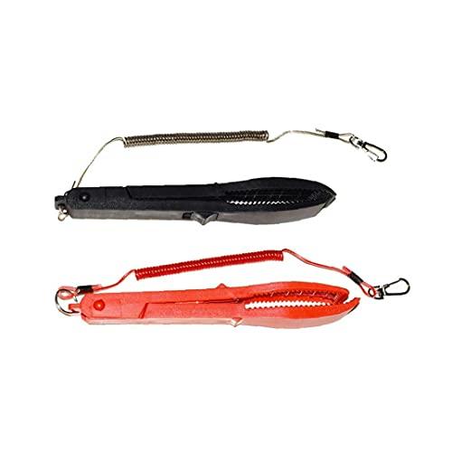 EElabper Pesca Alicates multifuncionales de los Pescados portátiles Herramientas Clip de la Mano del Controlador Pinza de plástico con Equipo de Pesca cordón Negro Rojo 2ST