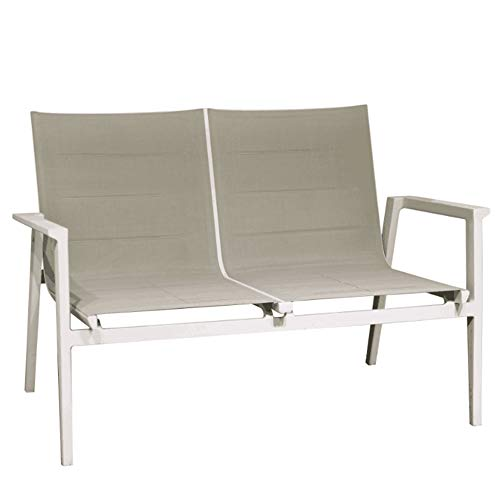 Meubletmoi - Sofá bajo de jardín de aluminio blanco y tejido textileno gris, 83 x 122 x 78 cm – Atlan